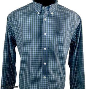 LL Bean Plaid Blue Green Long Sleeve Shirt Size XL
